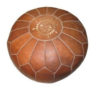 Handmade +Stuffed Genuine Leather Ottoman (Morocco)