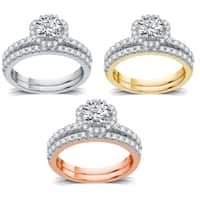 AMOUREUX 14k Gold 1-1/2 TDW Diamond Round Shape Bridal Set (I/J,I1-I2) - White I-J