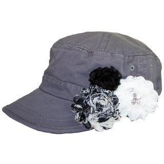 Women's Grey Cadet Cap with Shabby Chic Flowers