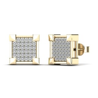 AALILLY 14K Yellow Gold 1/5 TDW Diamond Square Stud Earrings (H-I,I1)