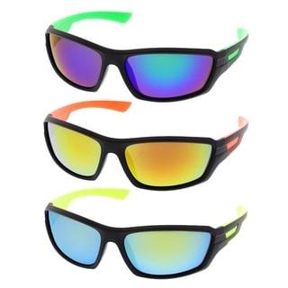 MLC Eyewear Ultra Light Weight Full Frame Sport Sunglasses (SET OF 3) - Black