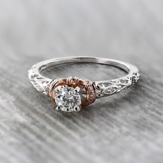 Auriya 14K Two-Tone Rose Gold 1/2ct TDW Vintage Diamond Solitaire Engagement Ring