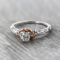 Auriya 14K Two-Tone Rose Gold 1/2ct TDW Vintage Diamond Solitaire Engagement Ring