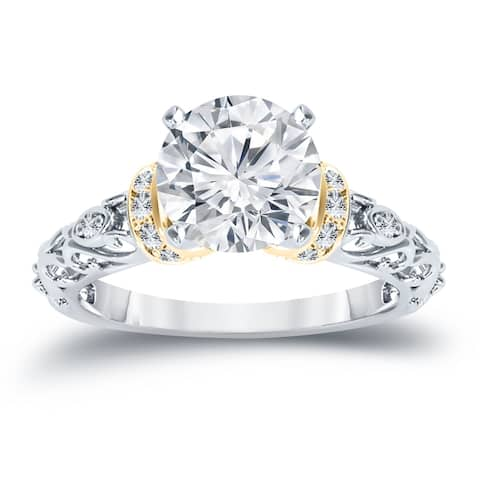 Auriya 14k Two-Tone Gold 3/4ctw Vintage Solitaire Diamond Engagement Ring