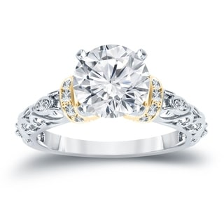 Auriya 14K Two-Tone Yellow Gold 3/4ct TDW Vintage Diamond Solitaire Engagement Ring