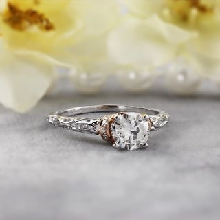 Auriya 14K Two-Tone Gold 1ct TDW Ornate Vintage Carved Round Diamond Engagement Ring (More options available)
