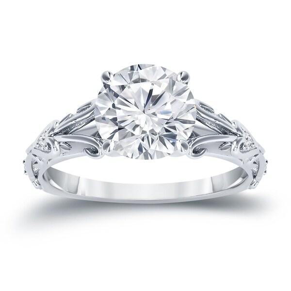 Auriya 14K Gold 3/4ct TDW Vintage Filigree Scrolled Diamond Engagement Ring - White H-I
