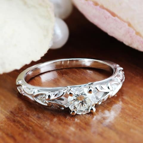 Auriya 14k Gold 3/4ctw Vintage Solitaire Diamond Engagement Ring