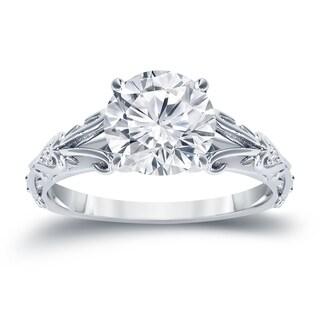 Auriya 14K Gold 1/2ct TDW Vintage Filigree Scrolled Diamond Engagement Ring - White H-I