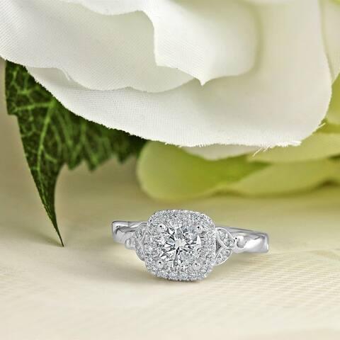 Auriya 14k Gold 3/4ctw Floral Vintage Halo Diamond Engagement Ring