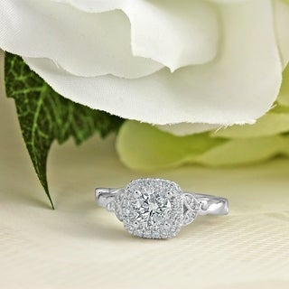 Auriya 14K Gold 3/4ct TDW Vintage Nature Inspired Carved Diamond Halo Engagement Ring