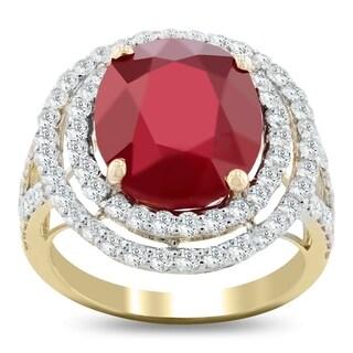 Auriya 14k Yellow Gold 10 1/6ct Ruby and 1 5/8ct TDW Diamond Ring - White