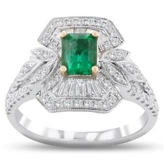 Auriya 18k White Gold 5/8ct Emerald and 3/4ct TDW Diamond Ring