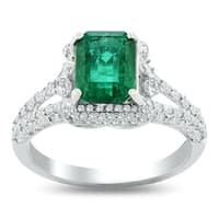 Auriya 14k White Gold 1 9/10ct Emerald-Cut Emerald and 5/8ct TDW Diamond Halo Engagement Ring