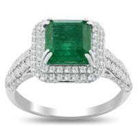 Auriya 18k White Gold 2ct Emerald and 1ct TDW Diamond Ring