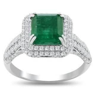 Auriya 18k White Gold 2ct Princess-Cut Emerald and 1ct TDW Diamond Halo Engagement Ring (More options available)