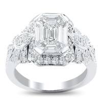 Auriya 14k White Gold 1 5/8ct TDW Vintage Emerald and Trapezoid-Cut Diamond Halo Engagement Ring