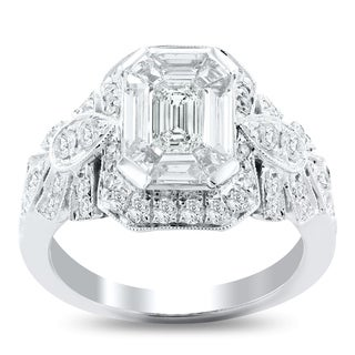 Auriya 14k White Gold 1 5/8ct TDW Vintage Trapezoid Diamond Engagement Ring - White G-H