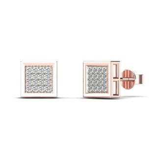 AALILLY Men's 10k Rose Gold 1/10ct TDW Diamond Square Stud Earrings (H-I, I1-I2)