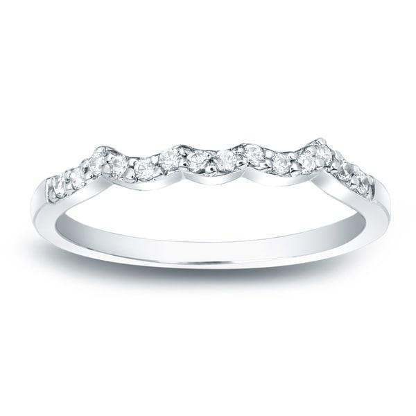Auriya 14k Gold 1/7 TDW Contoured Round Diamond Wedding Band - White H-I