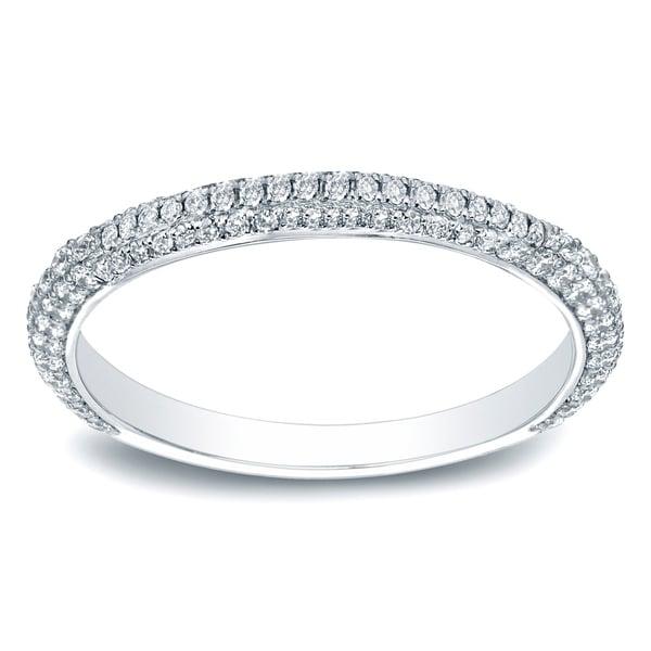 14K Gold 3/5 TDW Round-Cut Diamond Wedding Band by Auriya - White H-I