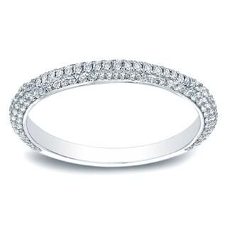 Auriya 14k Gold 3/5 TDW Round-Cut Diamond Wedding Band - White H-I