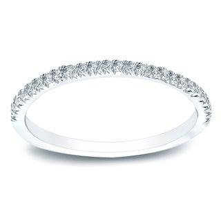 Auriya 14k Gold 1/2 TDW Round-Cut Diamond Wedding Band - White H-I