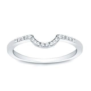 Auriya 14k Gold 1/4 TDW Round-Cut Diamond Wedding Band - White H-I