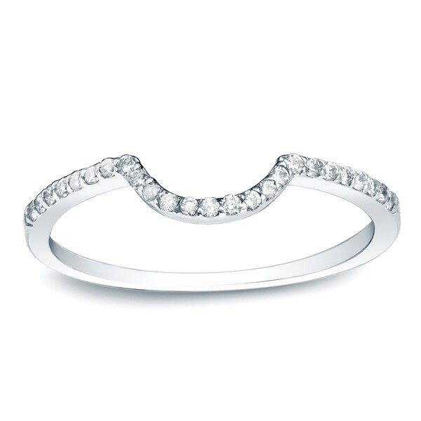 Auriya 14k Gold 1/6 TDW Round-Cut Diamond Wedding Band - White H-I