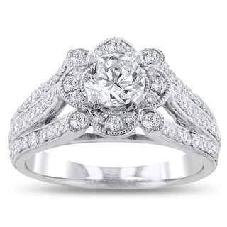 Auriya Platinum Vintage Art-Deco1 1/3 Carat TDW Unique Vintage Diamond Engagement Ring - White