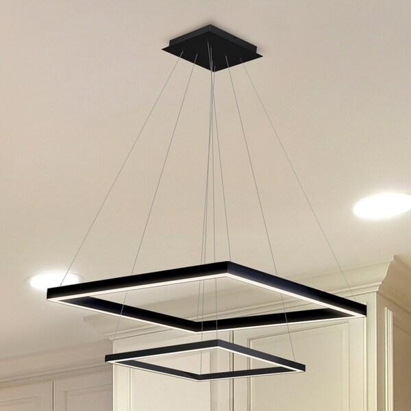 Vonn Lighting VMC31720BL Atria Duo 20-inch Integrated LED Chandelier in Black