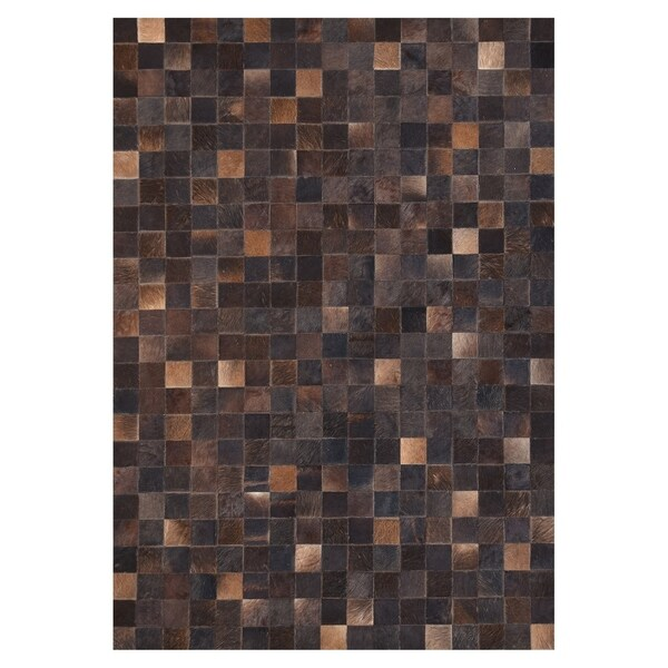 Kavka Designs Hand Sched Patchwork Chocolate Blocks Cowhide Rug 5 X27 X 7
