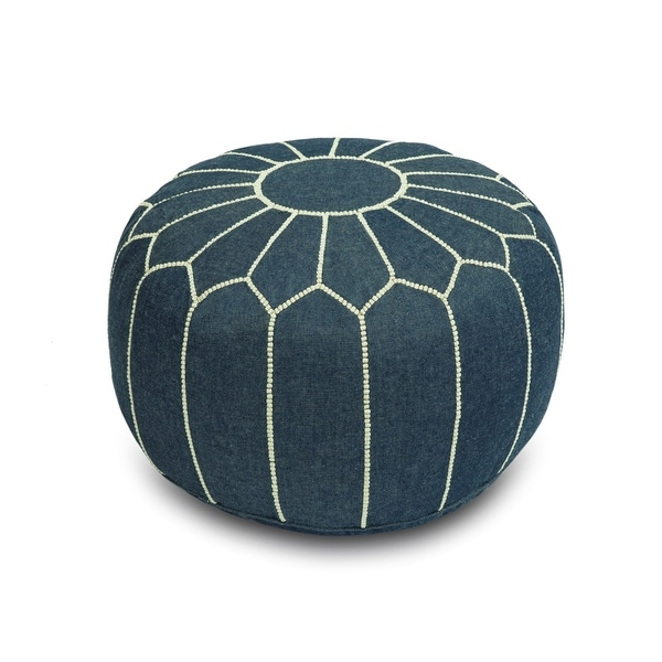 Shop Stuffed Genuine Denim Moroccan Pouf Ottoman Free Shipping Beauteous Turquoise Moroccan Pouf