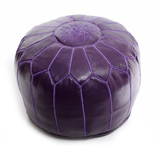 The Curated Nomad Aptos Moroccan Purple Pouf Leather Ottoman