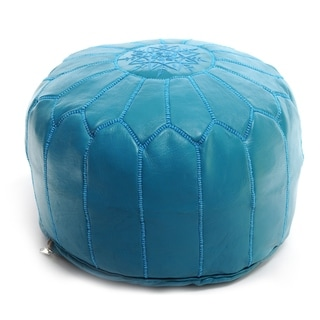 Moroccan Pouf Leather Ottoman Turquoise