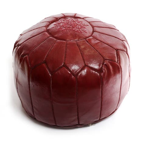 The Curated Nomad Aptos Moroccan Burgundy Pouf Leather Ottoman
