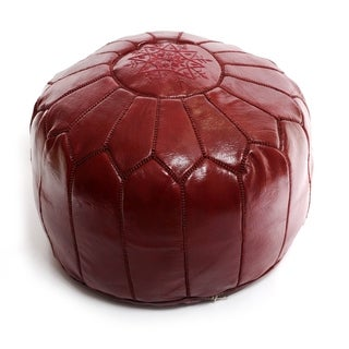 Moroccan Pouf Leather Ottoman Burgundy