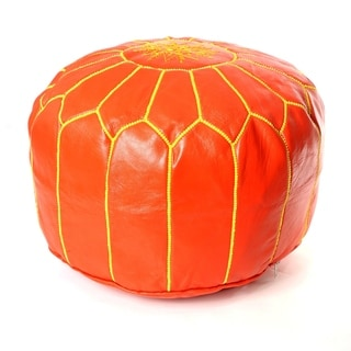Moroccan Pouf Leather Ottoman Orange/yellow