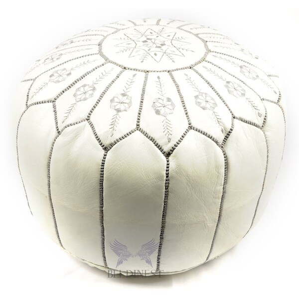 new arrival a8775 68ac9 Moroccan Pouf Leather Ottoman White/grey Flower
