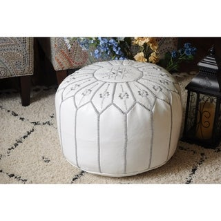 Moroccan Pouf Leather Ottoman White/grey Flower