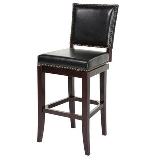 Sacramento Wood Bar or Counter Stool with Padded Swivel-Seat