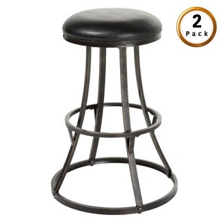 Dover Metal Bar or Counter Stool with Upholstered Swivel-Seat, 2-Pack
