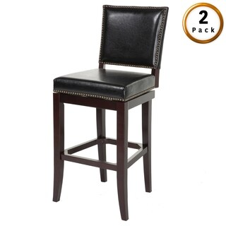 Sacramento Wood Bar or Counter Stool with Padded Swivel-Seat, 2-Pack