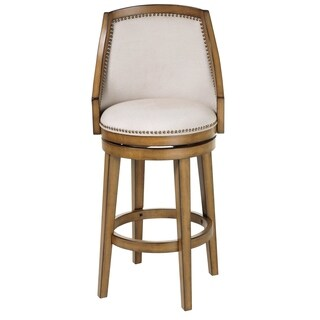 Charleston Wood Bar or Counter Stool with Upholstered Swivel-Seat