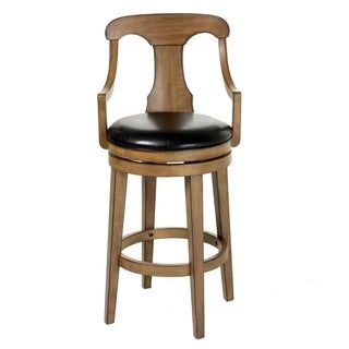 Albany Wood Bar or Counter Stool with Black Upholstered Swivel-Seat