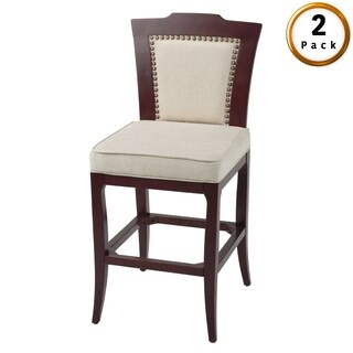 Springfield Wood Barstool with Oatmeal Upholstered Seat, 2-Pack