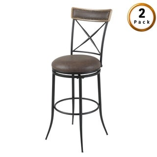 Boise Metal Bar or Counter Stool with Upholstered Swivel-Seat, 2-Pack (2 options available)