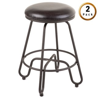 Denver Metal Bar or Counter Stool with Upholstered Swivel-Seat, 2-Pack