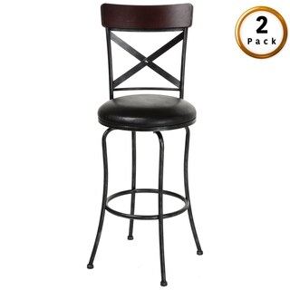 Austin Metal Bar or Counter Stool with Upholstered Swivel-Seat, 2-Pack