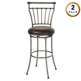 Topeka Metal Bar or Counter Stool with Upholstered Swivel-Seat, 2-Pack